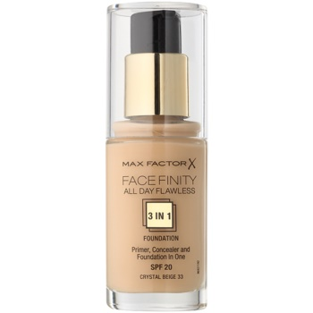 Max Factor Facefinity Foundation 3 In 1 Color 33 Crystal Beige (All Day Flawless) 1 oz MXFFACW_KMUP76