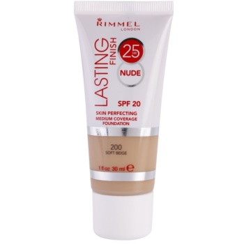 Rimmel Lasting Finish 25H Nude Everlasting Foundation SPF 20 Color 200 Soft Beige (Medium Coverage Foundation) 1 oz RIMLFUW_KMUP10