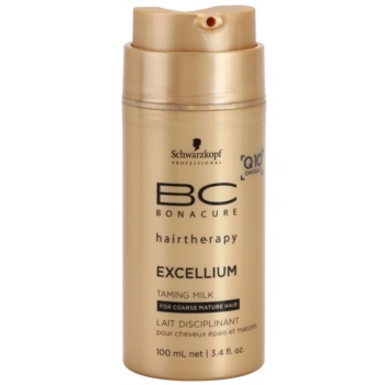 Schwarzkopf Professional BC Bonacure Excellium Taming Smoothing Milk For Heat Hairstyling (Exclusive Age-Defying Formula Combining Q10+ and Omega 3) 3.4 oz SCWEXTW_KRGR10