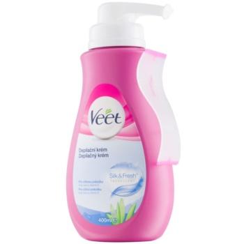Veet Depilatory Cream Hair Removal Cream For Sensitive Skin Aloe Vera and Vitamin E (+Spatula) 13.5 oz VEEDECW_KLCR30