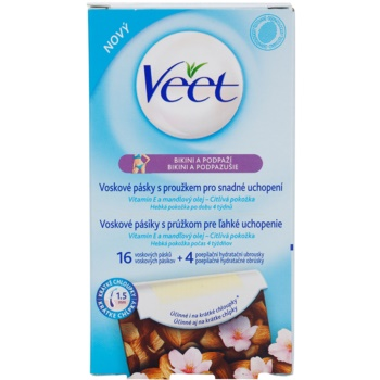 Veet Wax Strips Depilatory Wax Strips Bikini Line And Underarm  16 pc VEEWASW_KWAX40