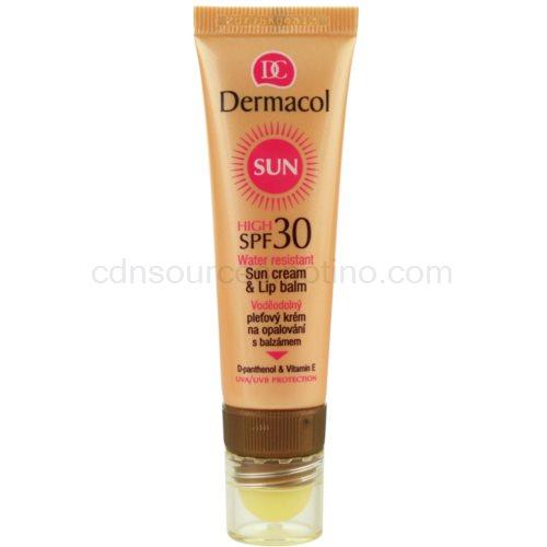 Dermacol Sun Water Resistant voděodolný pleťový krém na opalování s balzámem na rty SPF 30 (Water Resistant Sun Cream & Lip Balm) 30 ml