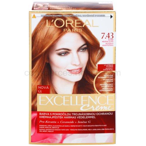 L'Oréal Paris Excellence Creme barva na vlasy odstín 7,43 Blonde Copper