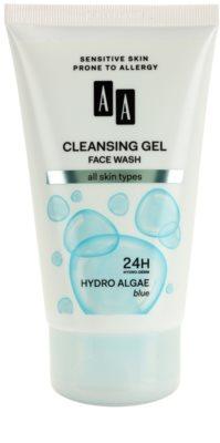 AA Cosmetics Hydro Algae Blue gel facial de limpeza para rosto, pescoço e decote