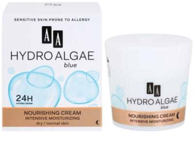 AA Cosmetics Hydro Algae Blue éjszakai tápláló krém hidratáló hatással 1