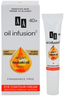 AA Cosmetics Oil Infusion2 Argan Tsubaki 40+ crema hranitoare de ochi pentru a reduce ridurile 1