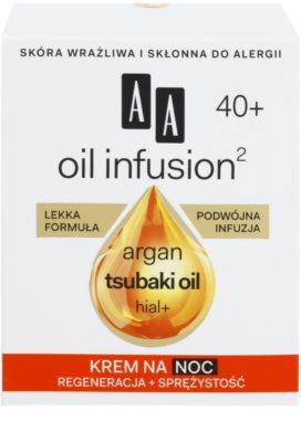 AA Cosmetics Oil Infusion2 Argan Tsubaki 40+ regenerační noční krém s protivráskovým účinkem 3