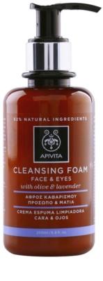 Apivita Cleansing Olive & Lavender mousse de limpeza para rosto e olhos