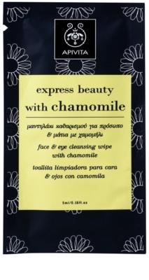 Apivita Express Beauty Chamomile toallita limpiadora y desmaquillante para rostro y ojos