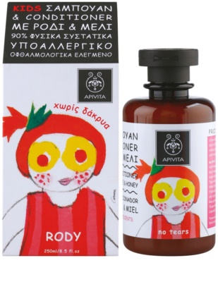 Apivita Kids Pomegranate & Honey sampon si balsam 2 in 1 pentru copii 1