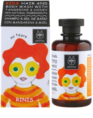 Apivita Kids Tangerine & Honey sampon és tusfürdő gél 2 in 1 gyermekeknek 1