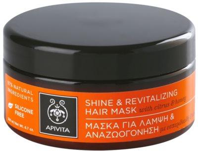 Apivita Propoline Citrus & Honey ревитализираща маска за коса за възобновяване на блясък