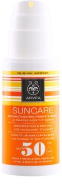 Apivita Sun Care Sea Lavender & Propolis loción bronceadora para rostro y cuerpo SPF 50 1
