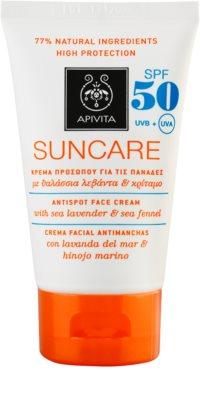 Apivita Sun Care Sea Lavender & Sea Fennel creme solar contra manchas de pigmentação SPF 50