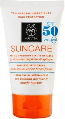 Apivita Sun Care Sea Lavender & Sea Fennel Sonnencreme gegen dunkle Flecken SPF 50
