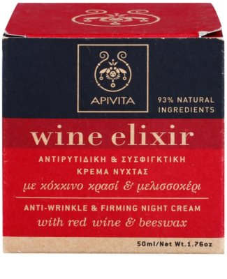 Apivita Wine Elixir Red Wine & Beeswax noční zpevňující a protivráskový krém 2