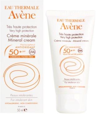 Avene Sun Mineral ochranný krém na obličej bez chemických filtrů a parfemace SPF 50+ 2