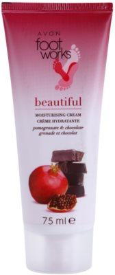 Avon Foot Works Beautiful feuchtigkeitsspendende Creme für die Füße mit Granatapfel und Schokolade