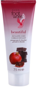 Avon Foot Works Beautiful peeling para pés com romã e chocolate