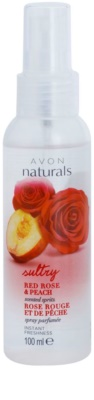Avon Naturals Body spray corporal con melocotón y rosa roja