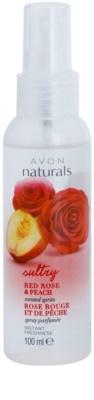 Avon Naturals Body спрей за тяло с червена роза и праскова