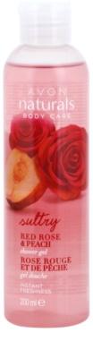 Avon Naturals Body sprchový gél s červenou ružou a broskyňou