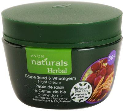 Avon Naturals Herbal učvrstitvena obnovitvena nočna krema z izvlečki grozdnih pečk in pšeničnih kalčkov