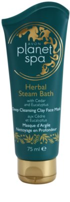 Avon Planet Spa Herbal Steam Bath globinsko čistilna maska iz ilovice za obraz s cedro in evkaliptusom