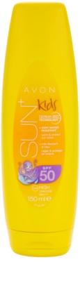 Avon Sun Kids vysoce voděodolné oranžové mléko na opalování SPF 50