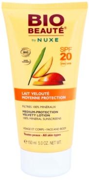 Bio Beauté by Nuxe Sun Care ásványi védőtej arcra és testre SPF 20