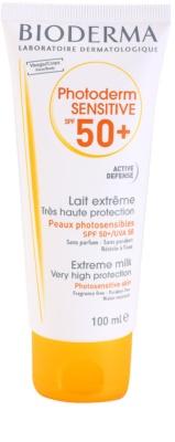 Bioderma Photoderm Sensitive schützende Milch für Gesicht und Körper SPF 50+