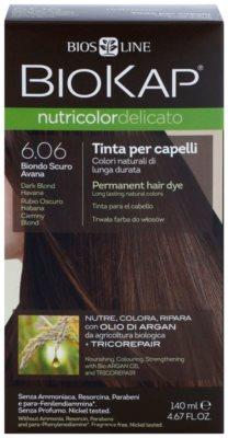 Biokap Nutricolor Delicato tinte permanente para cabello con aceite de argán sin perfume