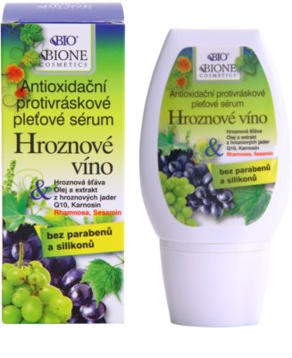 Bione Cosmetics Grapes antioksidantni serum proti gubam brez parabenov 1