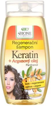 Bione Cosmetics Keratin Argan sampon pentru regenerare pentru un par stralucitor si catifelat