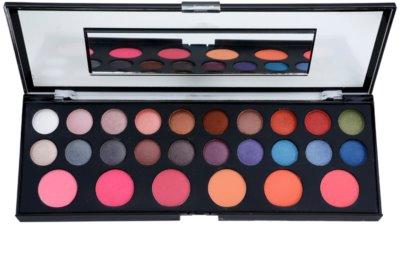 BrushArt Pro Makeup paleta de sombras de ojos y coloretes con un espejo pequeño