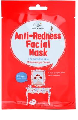 Cettua Clean & Simple платнена маска за чувствителна кожа със склонност към почервеняване