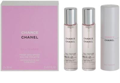 Chanel Chance Eau Tendre toaletní voda pro ženy  (1x plnitelná + 2x náplň)