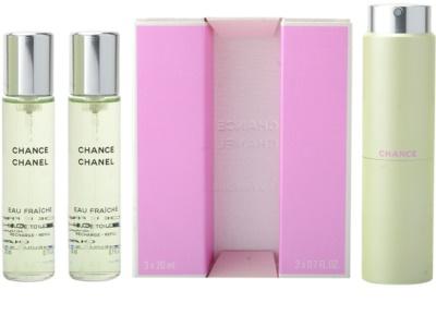 Chanel Chance Eau Fraiche eau de toilette nőknek  (1x utántölthető + 2x utántöltő)