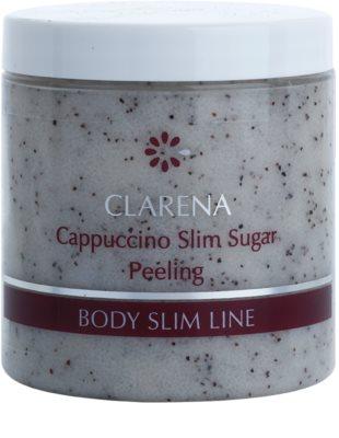 Clarena Body Slim Line Cappuccino exfoliante corporal con azúcar y granitos de café para estimular la microcirculación y eliminar celulitis