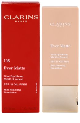 Clarins Face Make-Up Ever Matte матиращ фон дьо тен за минимизиране на порите SPF 15 1