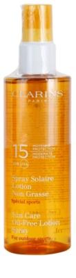 Clarins Sun Protection спрей для засмаги під час активних занять спортом без вмісту олійки SPF 15