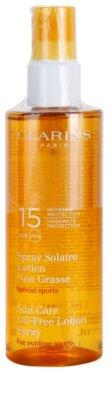 Clarins Sun Protection Spray bronzeador sem óleo adequado para atividades desportivas SPF 15
