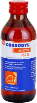 Corsodyl Solution 0,1% solución para higiene bucal, inflamaciones, sangrado de las encías y piorrea 1