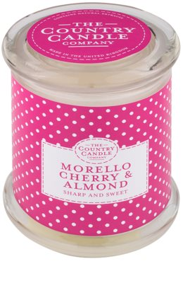 Country Candle Morello Cherry & Almond vonná svíčka   ve skle s víčkem