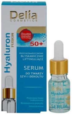 Delia Cosmetics Hyaluron Fusion 50+ festigendes Serum für Gesicht, Hals und Dekolleté 1