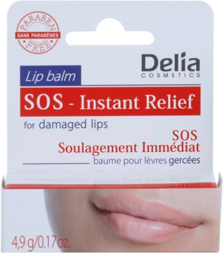 Delia Cosmetics Lip Balm SOS- Instant Relief bálsamo protector para labios agrietados 2
