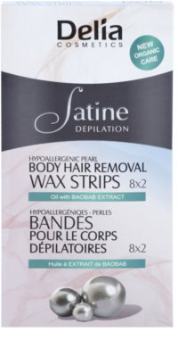 Delia Cosmetics Satine Depilation Hypoallergenic Pearl as bandas de cera para depilação para corpo