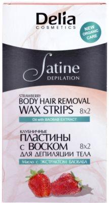 Delia Cosmetics Satine Depilation Strawberry bandas de cera depilatoria para el cuerpo
