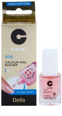 Delia Cosmetics Coral acondicionador para uñas con calcio para uñas frágiles 1
