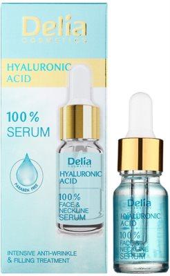 Delia Cosmetics 100% Serum Hyaluronic Acid intenzivni serum za zapolnitev gub s hialuronsko kislino za obraz, vrat in dekolte 1